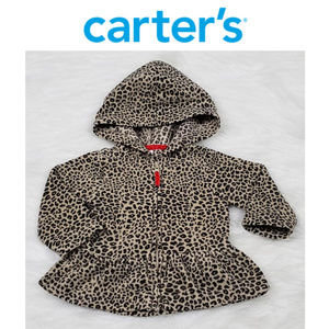 Carters Leopard Print Zip Up Hoodie Jacket 6 Mo